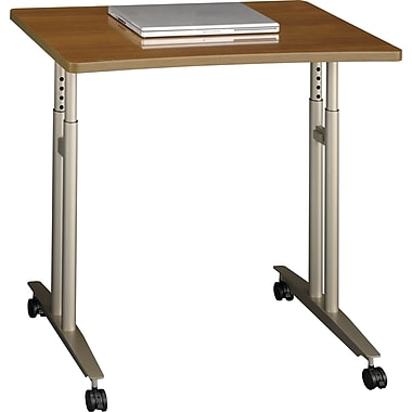 Bush Westfield Adjustable Height Mobile Table, Cafe Oak
