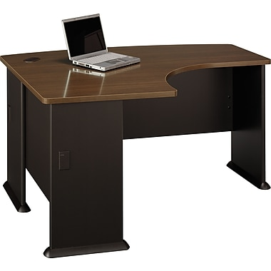 Bush Cubix 60in.W x 44in.D LH L-Bow Desk, Cappuccino Cherry, Installed