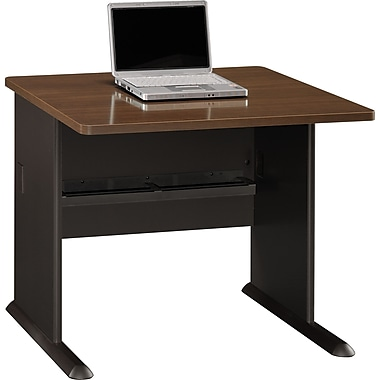 Bush Cubix 36in. Desk, Cappuccino Cherry/Hazelnut Brown, Fully assembled