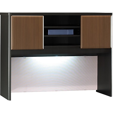 Bush Cubix 48in. Hutch, Cappuccino Cherry/Hazelnut Brown, Fully assembled