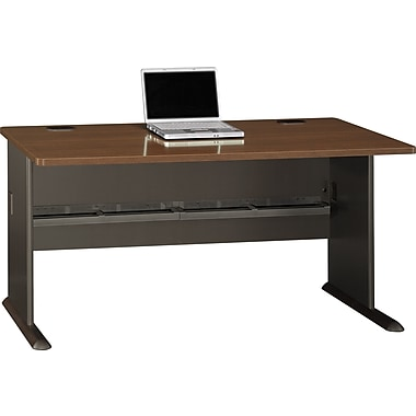 Bush Cubix 60in. Desk, Cappuccino Cherry/Hazelnut Brown