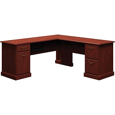 Bush® Syndicate 72in. L-Desk, Harvest Cherry, Fully Assembled