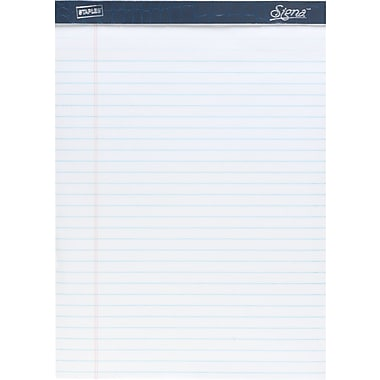 Signa® 8-1/2in. x 11-3/4in., White, Perforated Notepads, Wide Ruled, 12/Pack