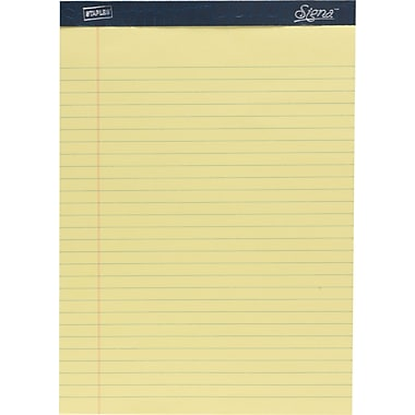 Signa® 8-1/2in. x 11-3/4in., Canary, Perforated Notepads, Wide Ruled, 12/Pack