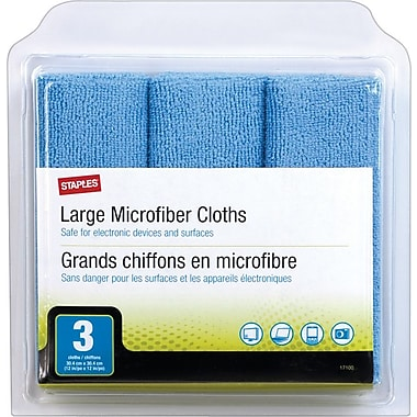 Staples® Microfibre Cleaning Cloths, Large, 3/Pack