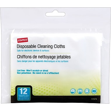 Staples® Disposable Lint-free Cloths, 12/Pack