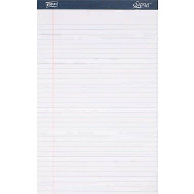 Signa® 8-1/2in. x 14in., White, Perforated Writing Pads, Wide Ruled, 12/Pack