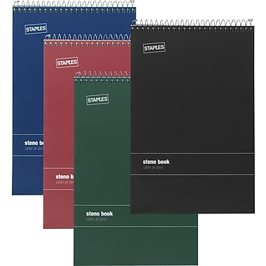 Staples® Green Paper Steno Pads, Gregg Ruled, 6