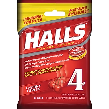 Halls Mentho-Lyptus Cough Tablets, Cherry, 4/Pack