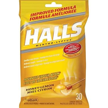 Halls Mentho-Lyptus Cough Tablets, Honey-Lemon, 30/Pack