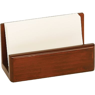 Staples Wood Desk Business Card Holder, Mahogany
