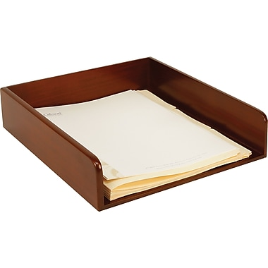 Staples Wood Desk Letter Tray, Mahogany
