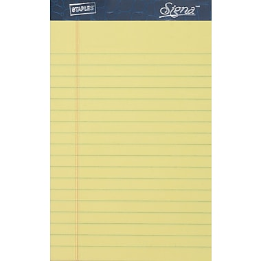 Signa® 5in. x 8in., Canary, Perforated Notepads, Narrow Ruled, 12/Pack
