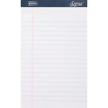 Signa® 5in. x 8in., White, Perforated Notepads, Narrow Ruled, 12/Pack