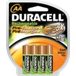 Duracell AA Rechargeable Precharged Batteries, 4/Pack