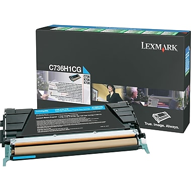 Lexmark C736H1CG Cyan Return Program Toner Cartridge, High Yield