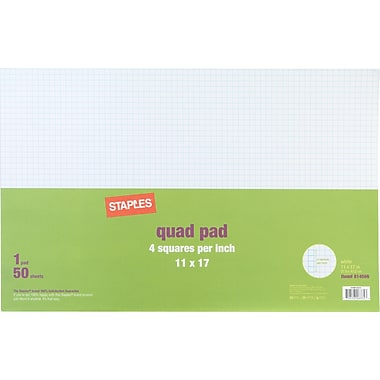 Staples® 4 x 4 Graph Pad, 11in. x 17in.