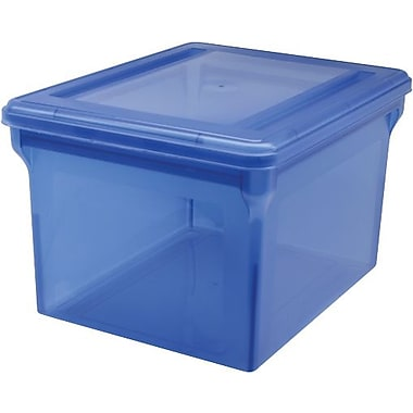 Staples® Letter/Legal File Box, Translucent Blue (140051)