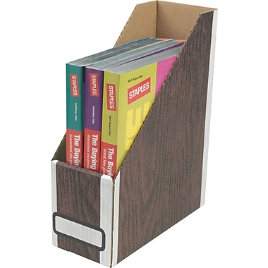 Staples Woodgrain Magazine File Storage
