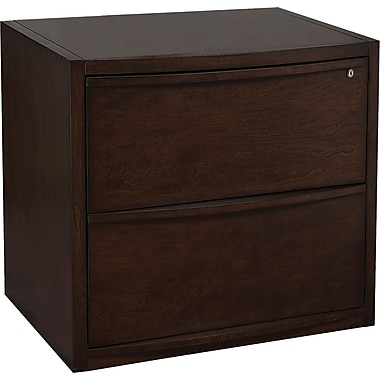 Staples® Deluxe Wood Lateral File Cabinet, 2-Drawer, Espresso