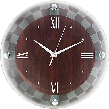 Artistic™ Timekeeper Round Wall Clock, Frosted Glass, 12