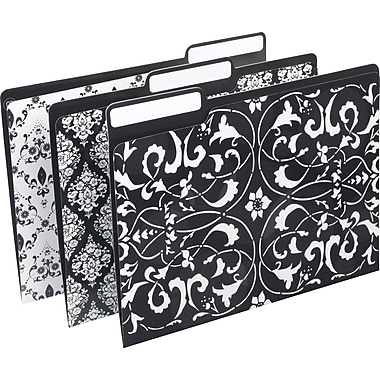 Staples® Heavyweight File Folders, Letter, Assorted Black and White Designs, 6/Pack