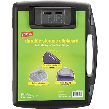 Staples® Portable Storage Clipboard with Calculator, Black, 12in. x 15 4/5in.