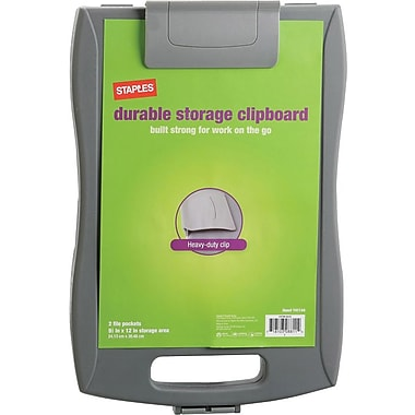Staples® Portable Storage Clipboard, Gray, Storage Area 9-1/2in. x 12in.