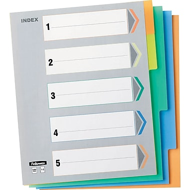 Fellowes 5-Tab Vinyl Index Tabs