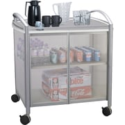 "Safco ® Impromptu ® 2 Door Refreshment Cart, 1 Shelf, 36 1/2""(H) x 34""(W) x 21 1/4""(D), Silver/Gray"