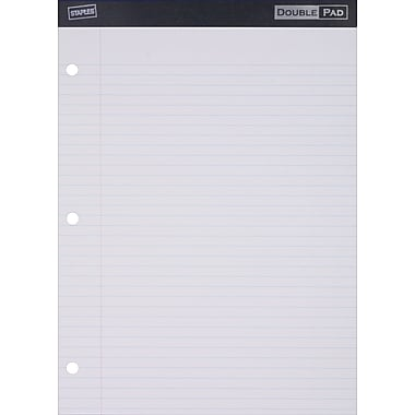 Staples 3-Hole Double Pad, White, Wide Ruled, 6/Pack