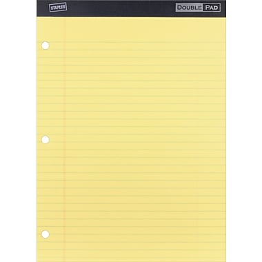 Staples 3-Hole Double Pad, Canary, Wide Ruled, 6/Pack