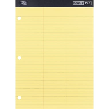 Staples 3-Hole Double Pad, Canary, Law Ruled, 3in. Margin, Each