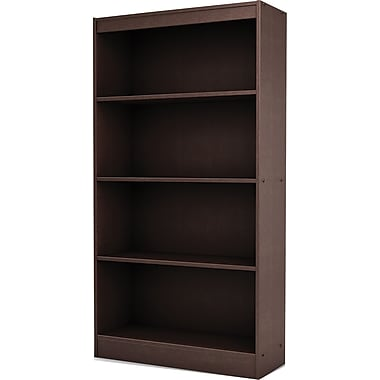 South Shore Work ID 4-Shelf Bookcase, Chocolate