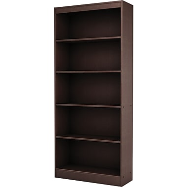 South Shore Work ID 5-Shelf Bookcase, Chocolate