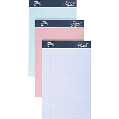 Staples® 5in. x 8in., Assorted Pastel Perforated Notepads, Narrow Ruled, 6/Pack