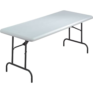 Iceberg 6' Utility-Grade Resin Folding Banquet Table, Platinum Granite, 30in.W