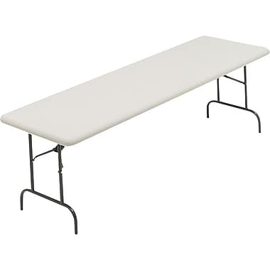 Iceberg 8' Utility-Grade Resin Folding Banquet Table, Platinum Granite