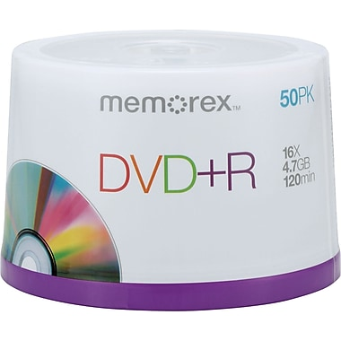 Memorex 50/Pack 4.7GB DVD+R, Spindle