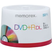 Memorex Double-Layer DVD+R Spindle, 8.5GB, 240-Minute, Silver, 50/Pk
