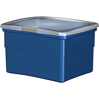 Staples Plastic Hinged File Boxes w/Lid, Blue