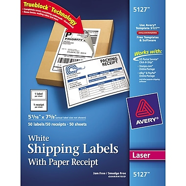 Avery® 5127 White Laser Shipping Labels with Paper Receipt, 5-1/16in. x 7-5/8in., 50/Box