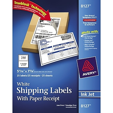 Avery® 8127 White Inkjet Shipping Labels with Paper Receipt, 5-1/16in. x 7-5/8in., 25/Box