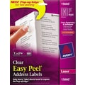 Avery 15660 Clear Laser Address Labels with Easy Peel®, 1in. X 2-5/8in., 300/Box