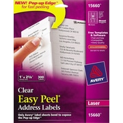 Avery® 15660 Clear Laser Address Labels with Easy Peel®, 1 X 2-5/8, 300/Box