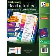 Avery(R) EcoFriendly Ready Index(R) Table of Contents Dividers 11083, 12-Tab, 3 Sets