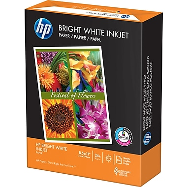 HP® Bright White Inkjet Paper, 24 lb., 8-1/2