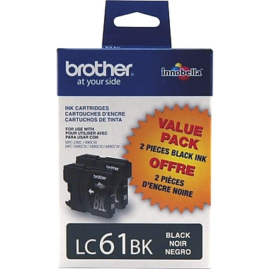 Brother LC61BK Black Ink Cartridges, Twin Pack