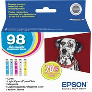 Epson® 98 (T098920-S) C/M/Y/LC/LM Ink Cartridges, High-Yield, Combo Pack