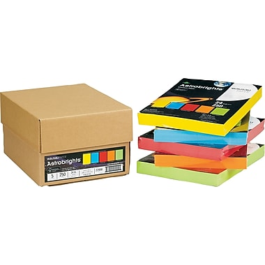 ASTROBRIGHTS® Paper, 8 1/2in. x 11in., 24 lb., 5-Color Mixed Carton, 1,250/Carton
